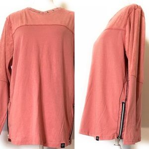 Raw yarn shirt, Sz small, side zipper, salmon